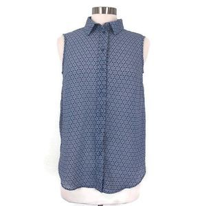 H&M Sheer Blue Pattern Button Up Tank Top Blouse
